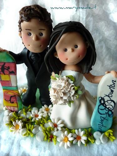 Il Cake Topper di Leonardo e Federica con i loro snowboard