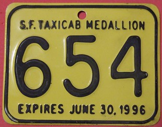 CALIFORNIA, SAN FRANCISCO 1996 ---TAXI MEDALLION SUPPLEMENTAL LICENSEPLATE