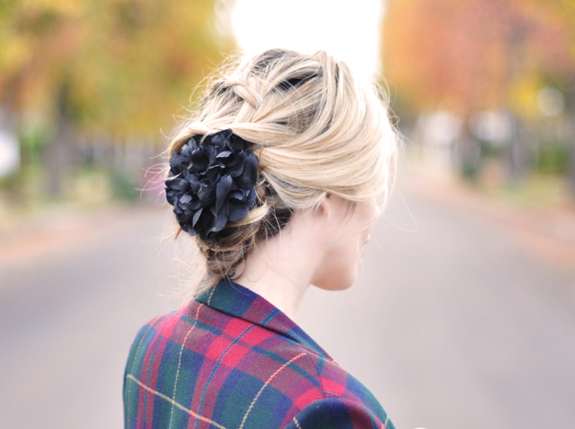 braids-hair-flowers in hair-plaid
