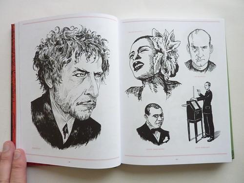 500 Portraits by Tony Millionaire - pages (Bob Dylan et al.)