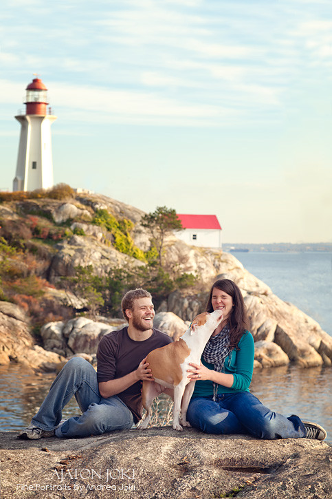 dog, family, young, couple, lighthouse, vancouver