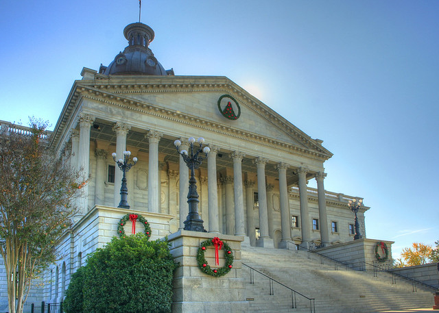 SC State House In Columbia SC Back Lit By The Afternoon Sun And