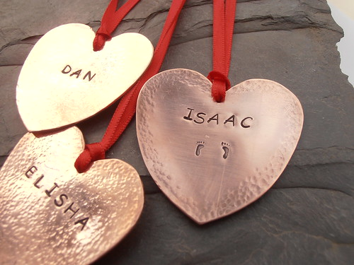 customised copper hearts by greensladejenny