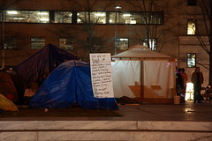 Occupy DC, McPherson Square at night