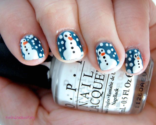 Snowman short nail designs