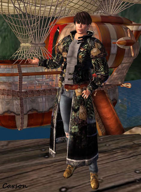 Spearsong - Tattered Jeans and Muscle Shirt, artMEfashion- Steampatch Duster, Soul Distraction - Tan Hiking Boots
