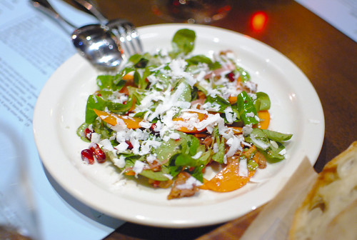 Persimmon pomegranate, mache, ricotta salata & toasted walnut croutons