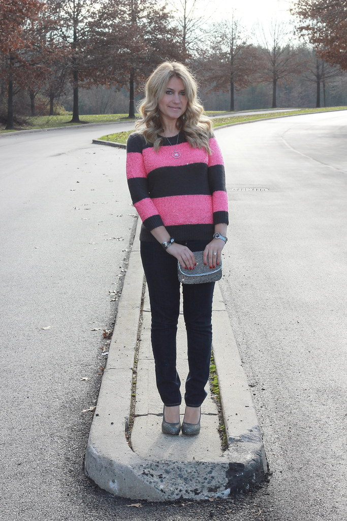 J Crew Sequin Stripe Sweater