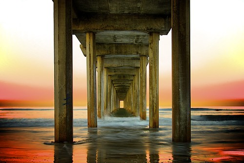 beach sunrise pier sandiego lajolla hdr scrippspier tonemapped