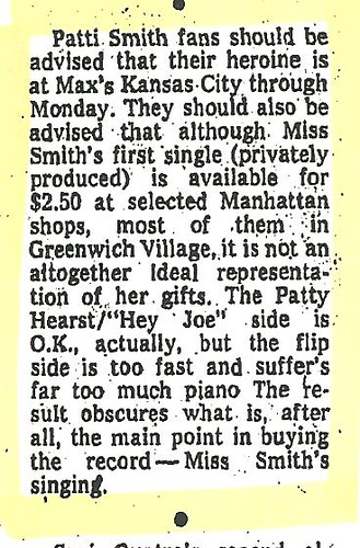 08-30-74 NYT - Patti Smith @ Max's Kansas City