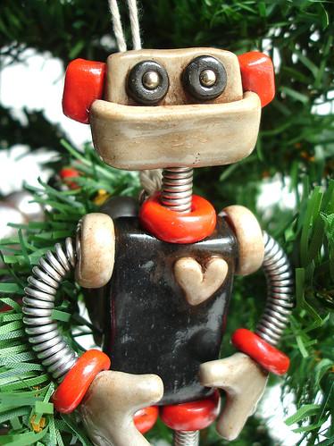 Robot Christmas Ornament | Red Black Matt by HerArtSheLoves