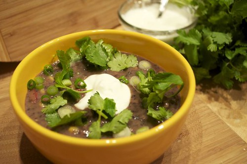 black bean soup with pork & veggies 32
