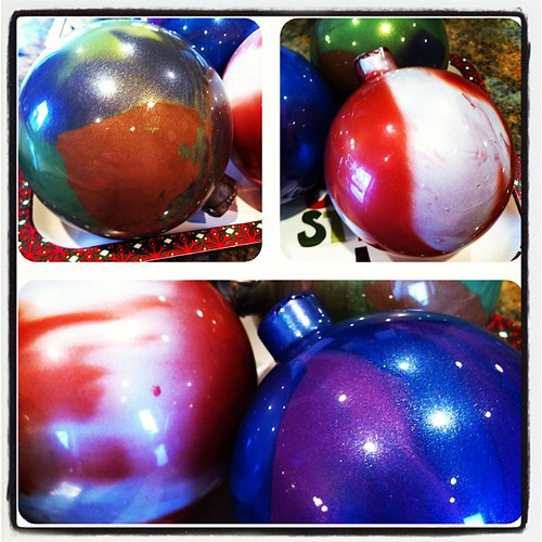 We painted ornaments this morning w friends.