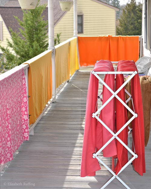 Bright fleece, drying on the porch, photo by Elizabeth Ruffing