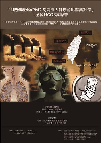「細懸浮微粒PM2.5對國人健康影響與對策高峰會」活動海報