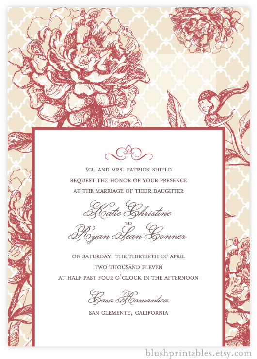 Vintage Garden - Printable 5x7 Wedding Invitation
