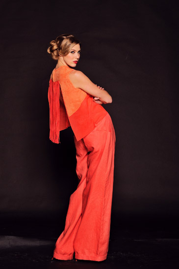 Couture Studio Shoot, custom print orange fashion fabrics. Photography by Kent Johnson
