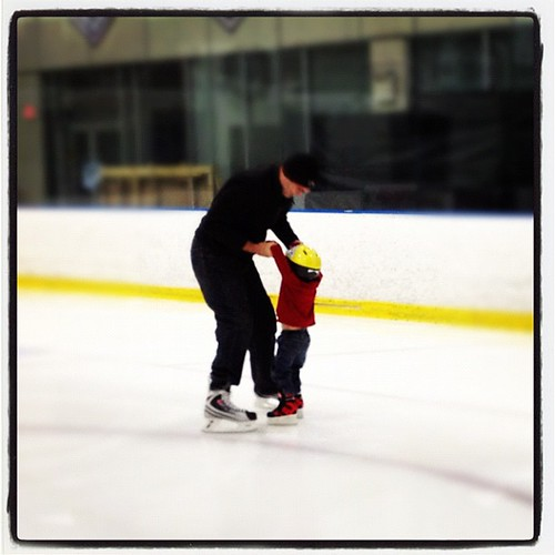 Learning to skate with Daddy