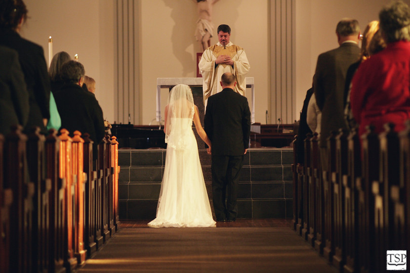 Bride and Groom at Catholic Church