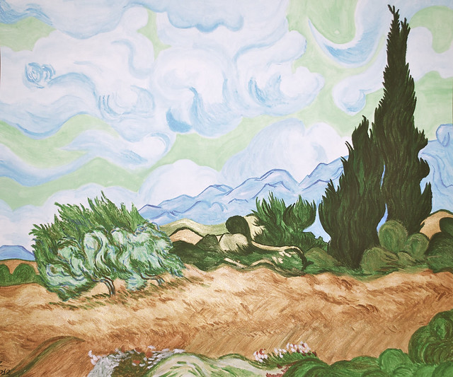 Wheatfield with Cypresses (3 January 2012, finished)