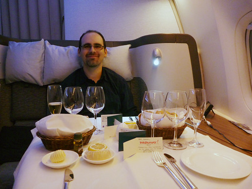 you can't have enough wine glasses in first class...