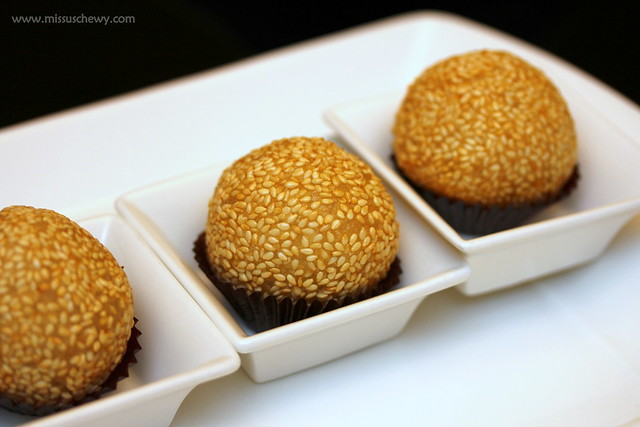 Fried Sesame Balls with Red Bean and Chocolate Liqueur Filling