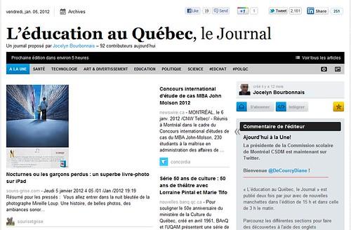 """""""Le Webzine L'éducation au Québec, le Journal"""""""
