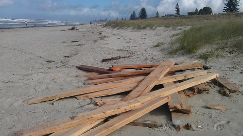 At Mount Maunganui, there's piles of timber people have dragged up from the water every couple hundred meters #rena