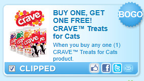 Crave Treats For Cats Product. Coupon