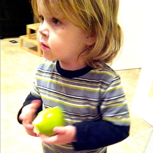 A boy, an apple