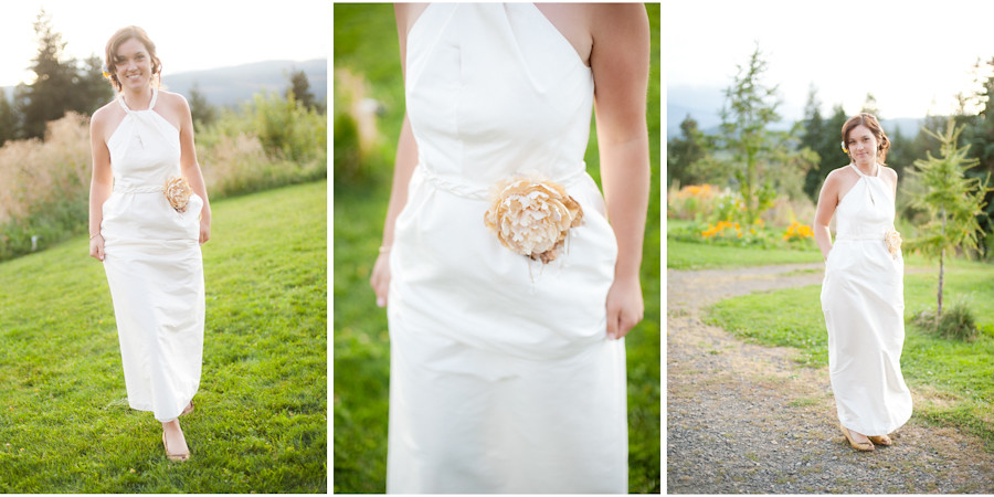 Bride in DIY custom wedding dress with pockets & fabric flower belt.
