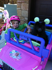 Ranger & Siri in Barbie car