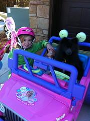 Ranger & Siri in Barbie car