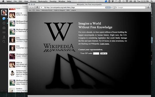 Cierre de Wikipedia por SOPA