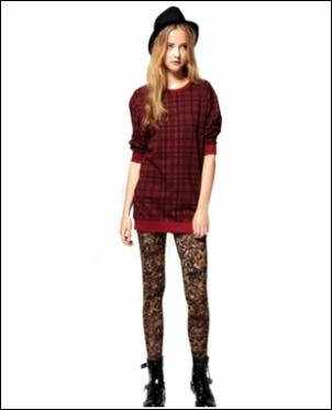Wear leopard print leggings with Plaid
