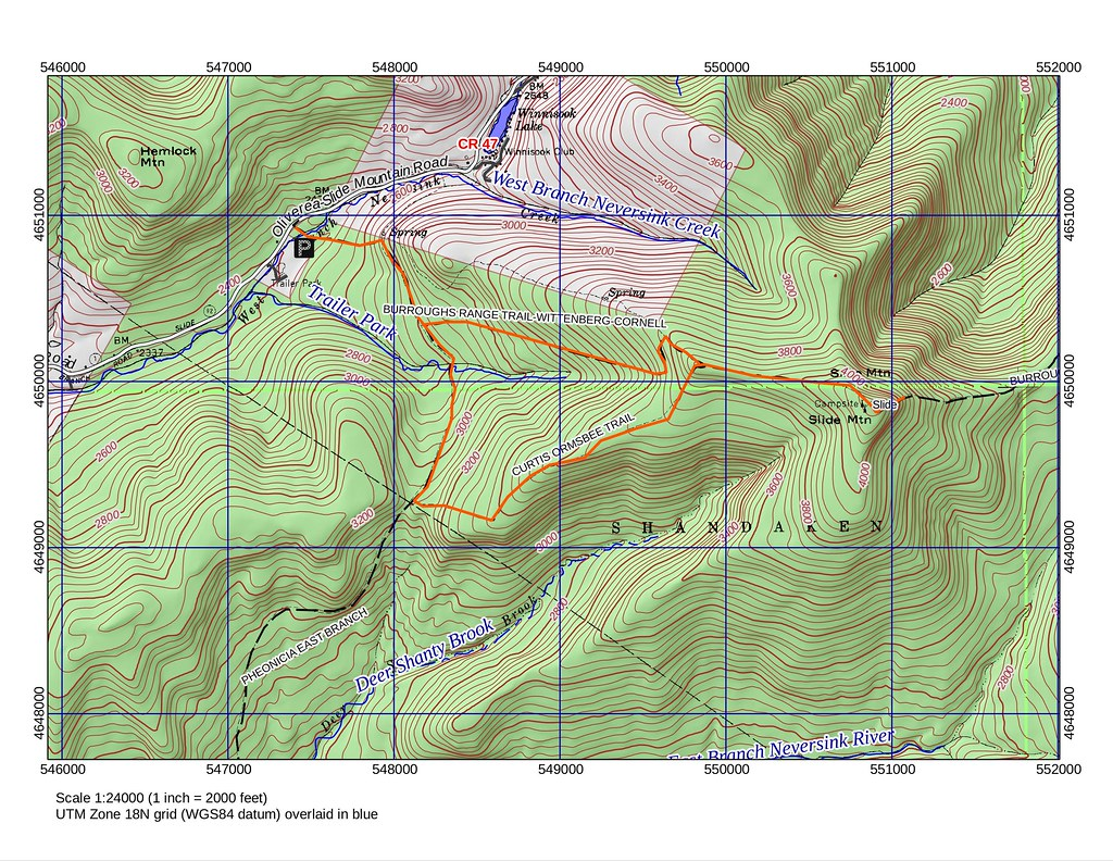 Map of Slide Mountain hike, 2011-12-28