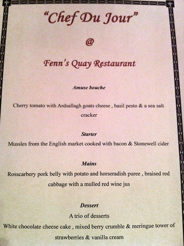 Paul Callaghan's Chef Du Jour Menu