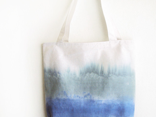 green and blue striped texture tote.