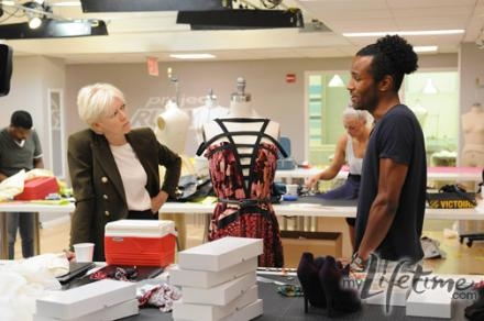 Joanna Coles talking to Jerrel in the workroom