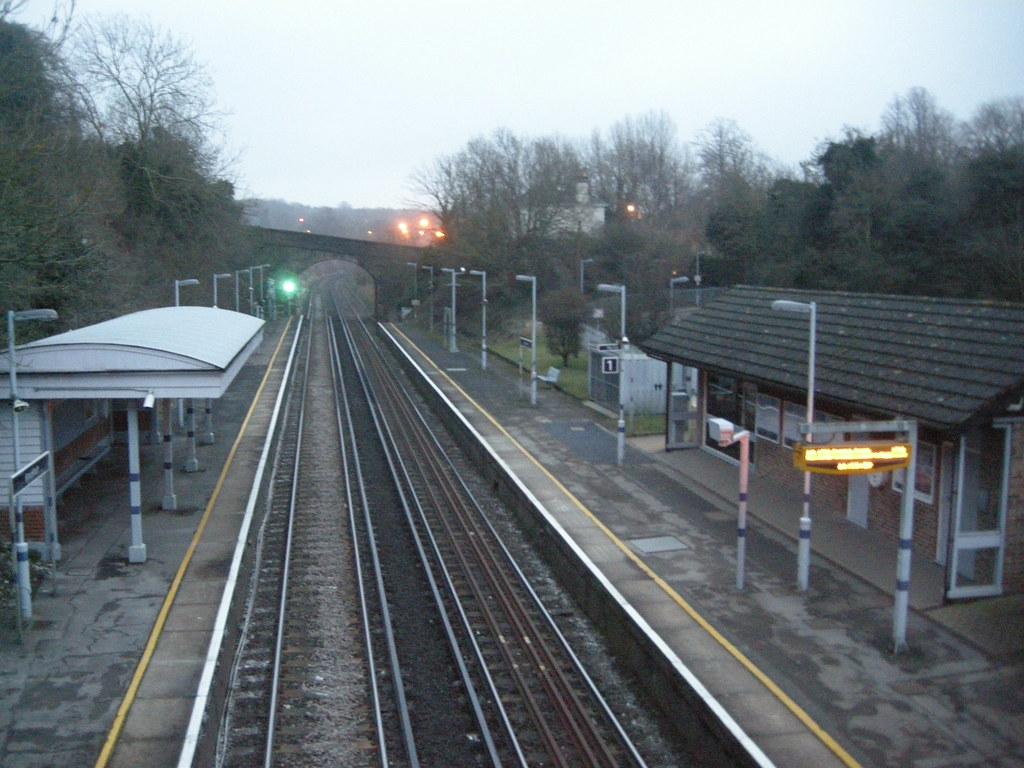 train back at sunset