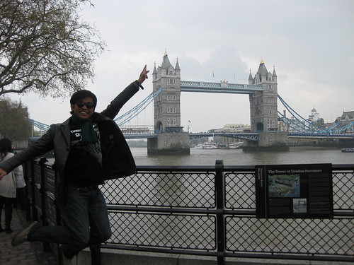 Jumping photo in Tower Bridge, London