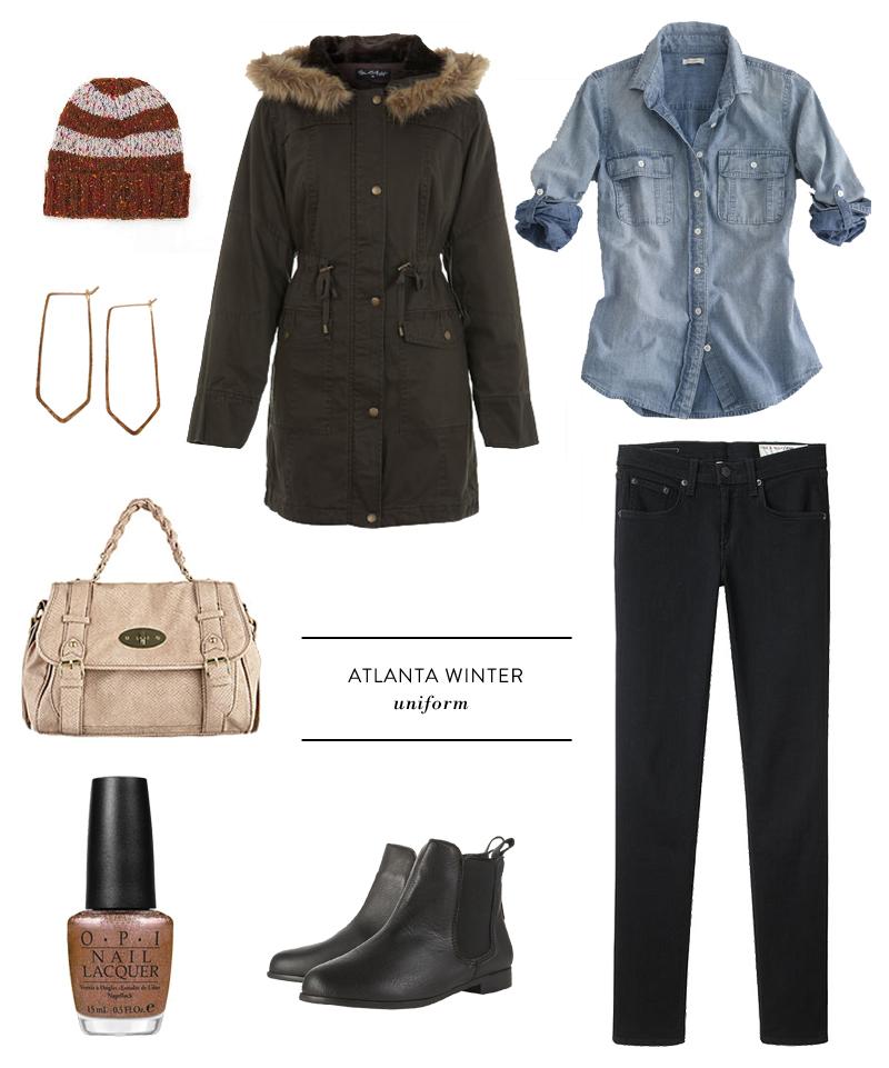 uniform atlanta winter fashion coat jacket parka chambray brass earrings nail polish warm and fozzie ciara sames glass and sable