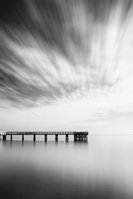 Clouds, Pier, Water (BW)