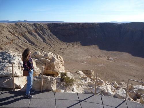 Ilana surveys the Meteor Crater