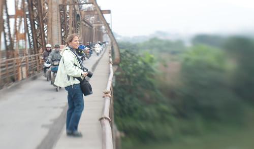 Amy on Long Bien Bridge-1