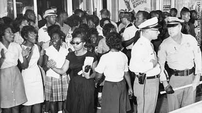 Patricia Stephens Due in black dress during 1963 in Florida. She remained in jail for 49 days refusing to pay bail after civil rights protest. by Pan-African News Wire File Photos