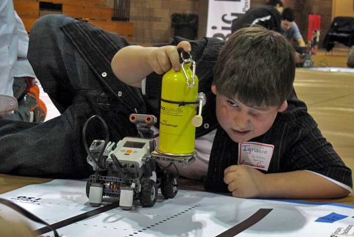 Ignacio Garcia-Gon readies his robot at the RoboRAVE Rally.