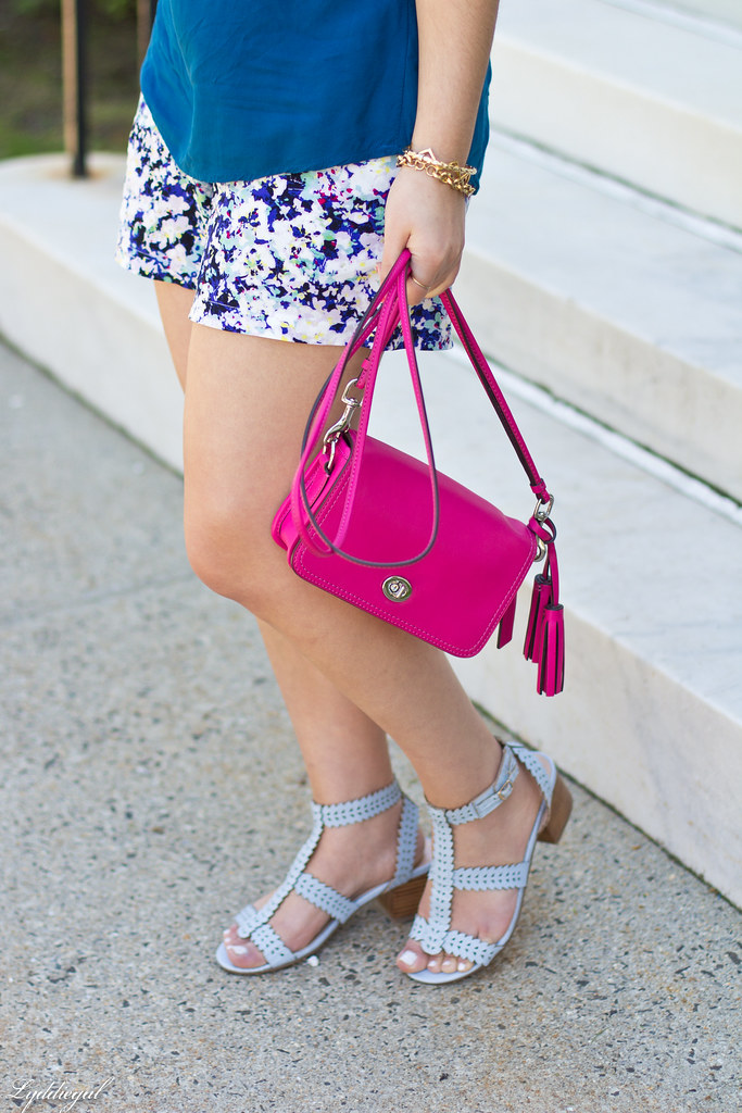 floral print shorts, blue top, pink coach bag-5.jpg