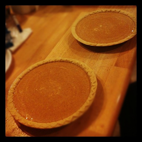 Pumpkin pies are ready for the oven.