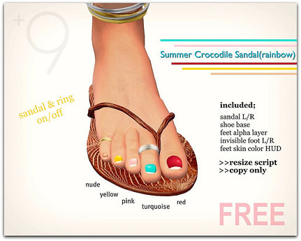 +9 Summer Crocodile Sandal(rainbow), free  by Cherokeeh Asteria
